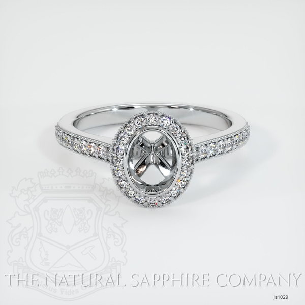 Bezel Set Pave Diamond Halo Ring Setting JS1029 Image 2