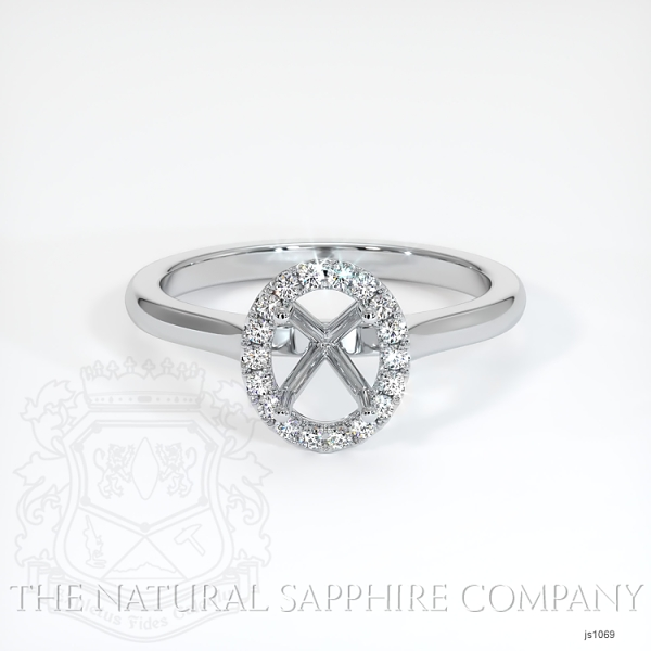 Pave Diamond Halo Setting - Plain Band JS1069 Image 2