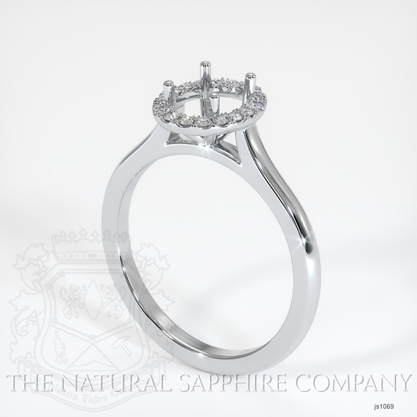 Pave Diamond Halo Setting - Plain Band JS1069 Image