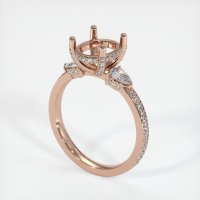 14K Rose Gold Pave Diamond Ring Setting - JS1077R14
