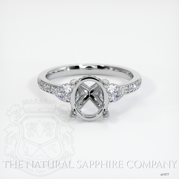 Pave Diamond 3-Stone Ring - Pear Shape Diamonds - Pave Band JS1077 Image 2
