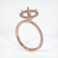 14K Rose Gold Pave Diamond Ring Setting - JS1081R14