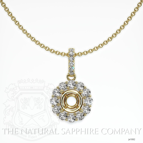 4 prongs diamond halo pendant Setting. JS1082 Image