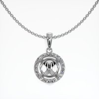 18K White Gold Pave Diamond Pendant Setting - JS1083W18