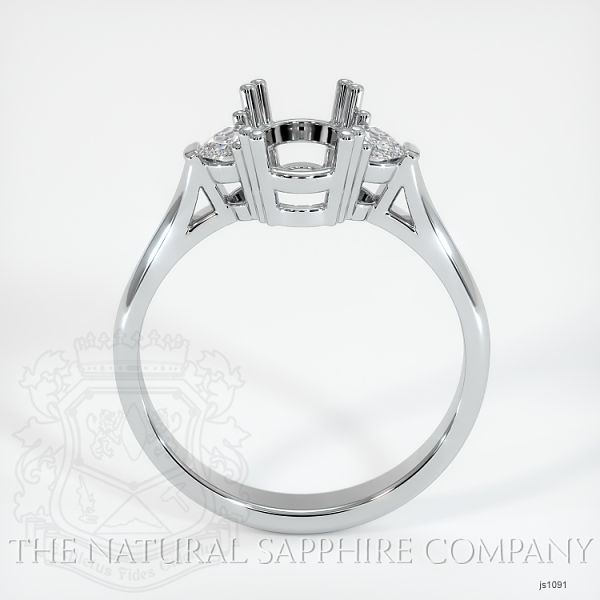 Double Prong 3 Stone Ring Setting - Half Moon Diamonds JS1091 Image 4