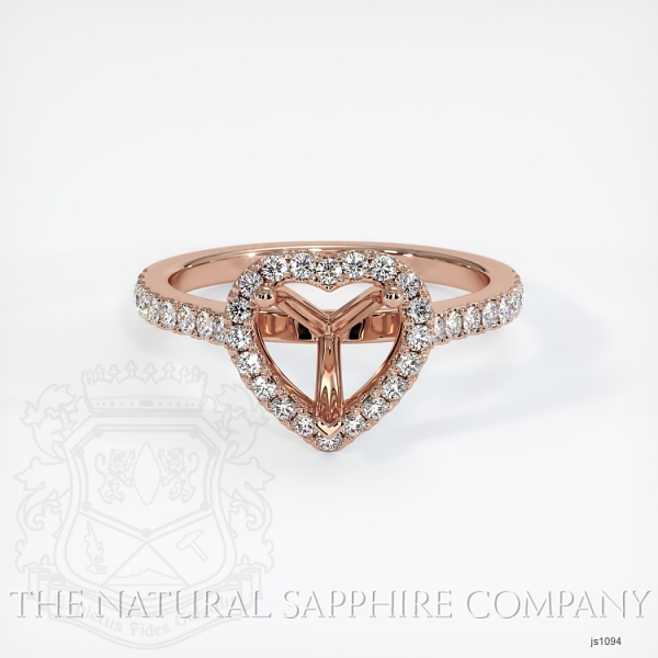 Scoop Cut Pave Diamond Halo Setting For Heart Shape JS1094 Image 2