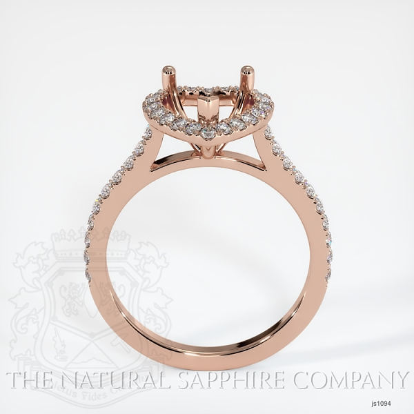 Scoop Cut Pave Diamond Halo Setting For Heart Shape JS1094 Image 4