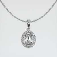 14K White Gold Pave Diamond Pendant Setting - JS1138W14