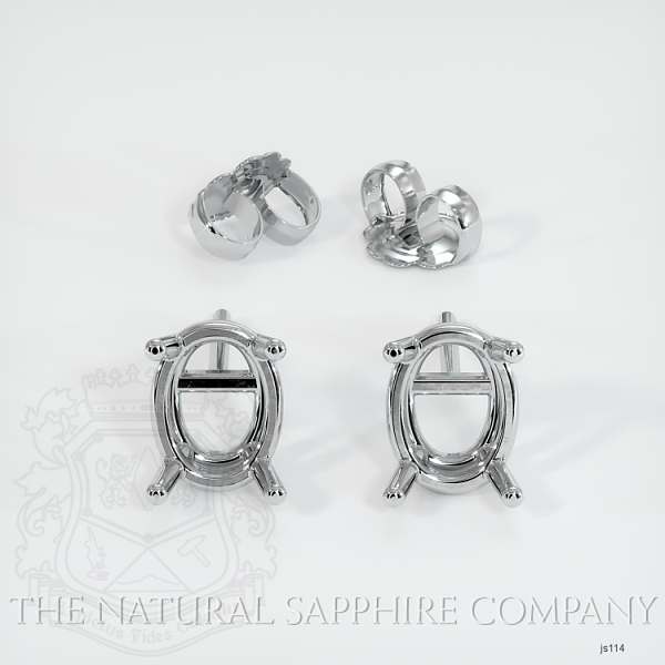 4 Prong Oval Center Earring Setting (Studs) JS114 Image 3