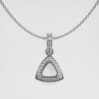 14K White Gold Pave Diamond Pendant Setting - JS1140W14