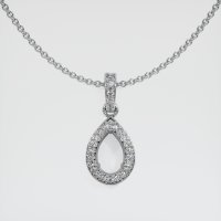 14K White Gold Pave Diamond Pendant Setting - JS1141W14