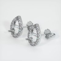 Platinum 950 Pave Diamond Earring Setting - JS1145PT