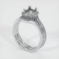 18K White Gold Pave Diamond Ring Setting - JS1146W18