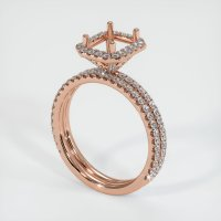 14K Rose Gold Pave Diamond Ring Setting - JS1174R14