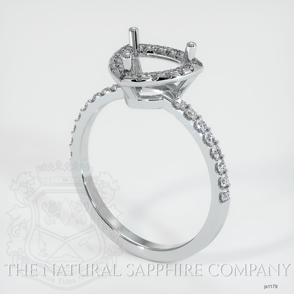 Scoop Cut Pave Diamond Halo Setting - Cushion Cut JS1179 Image