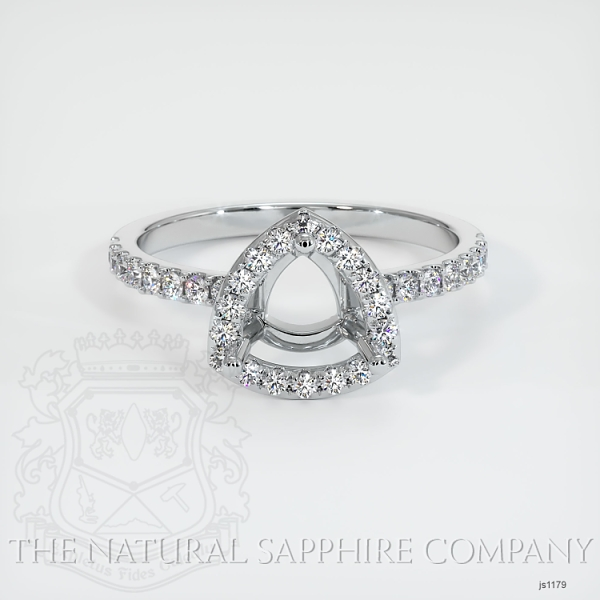 Scoop Cut Pave Diamond Halo Setting - Cushion Cut JS1179 Image 2