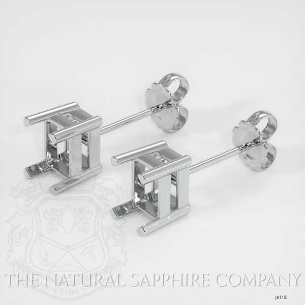 4 Prong Earring Setting With Square Center Stone (Studs) JS118 Image