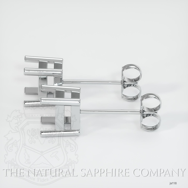 4 Prong Earring Setting With Square Center Stone (Studs) JS118 Image 2