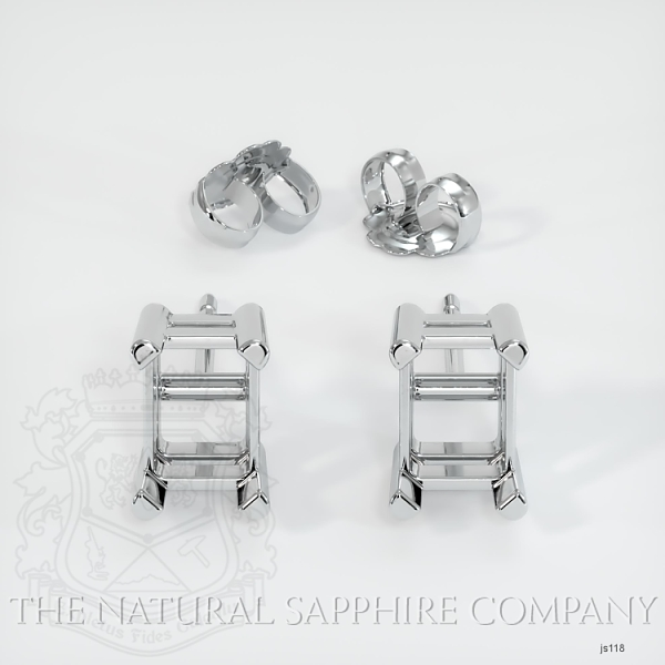 4 Prong Earring Setting With Square Center Stone (Studs) JS118 Image 3