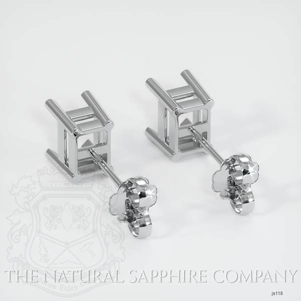 4 Prong Earring Setting With Square Center Stone (Studs) JS118 Image 4