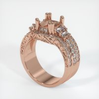 14K Rose Gold Pave Diamond Ring Setting - JS157R14