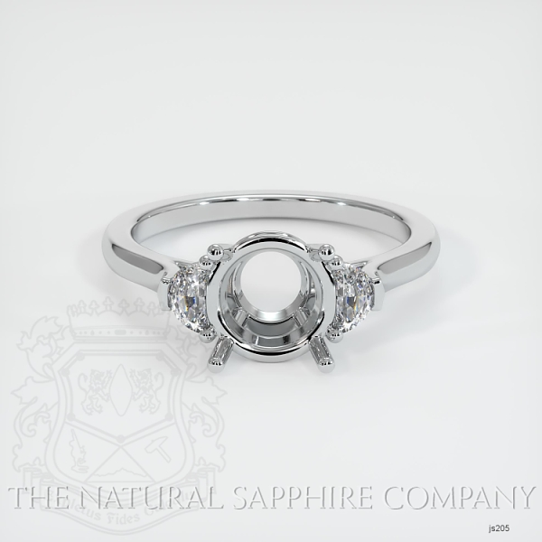 3 Stone Ring Setting - Half Moon Diamonds JS205 Image 2