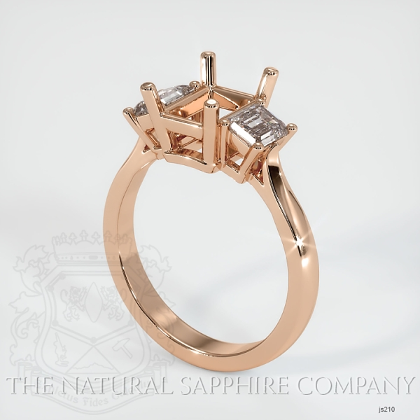 3 Stone Ring Setting - Emerald Cut Diamonds JS210 Image