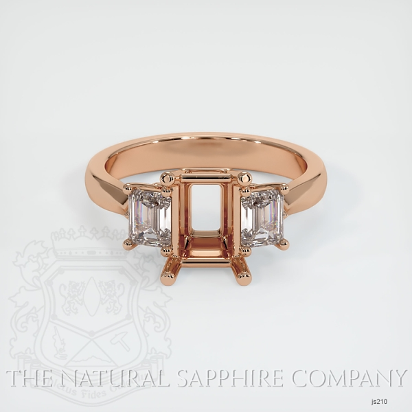 3 Stone Ring Setting - Emerald Cut Diamonds JS210 Image 2