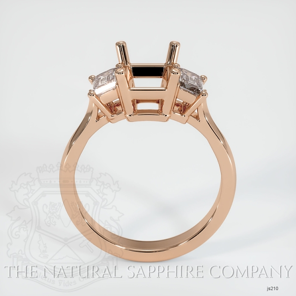 3 Stone Ring Setting - Emerald Cut Diamonds JS210 Image 4