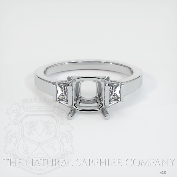 3 Stone Ring Setting - Trapezoid Diamonds JS222 Image 2