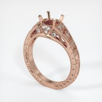 14K Rose Gold Pave Diamond Ring Setting - JS229R14