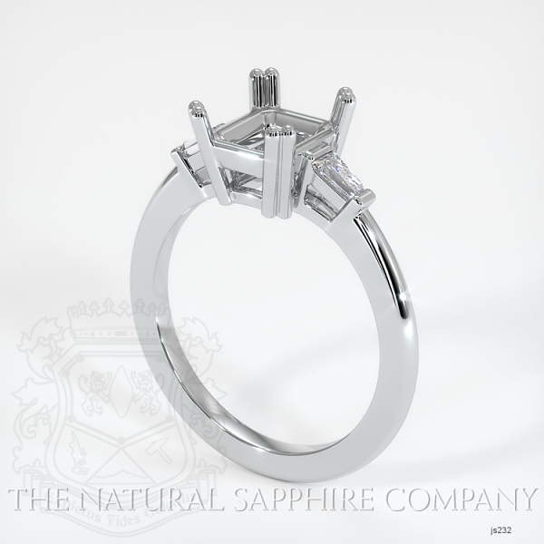 3 Stone Ring Setting - Tapered Baguette Diamonds, Double Prong JS232 Image