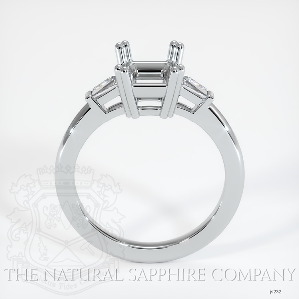 3 Stone Ring Setting - Tapered Baguette Diamonds, Double Prong JS232 Image 4