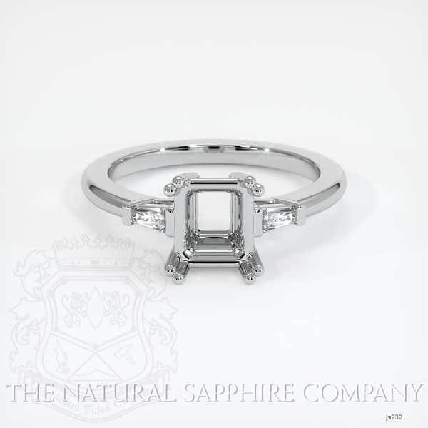 3 Stone Ring Setting - Tapered Baguette Diamonds, Double Prong JS232 Image 2