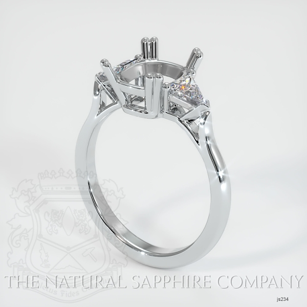 Double Prong 3 Stone Ring Setting - Trillion Diamonds JS234 Image