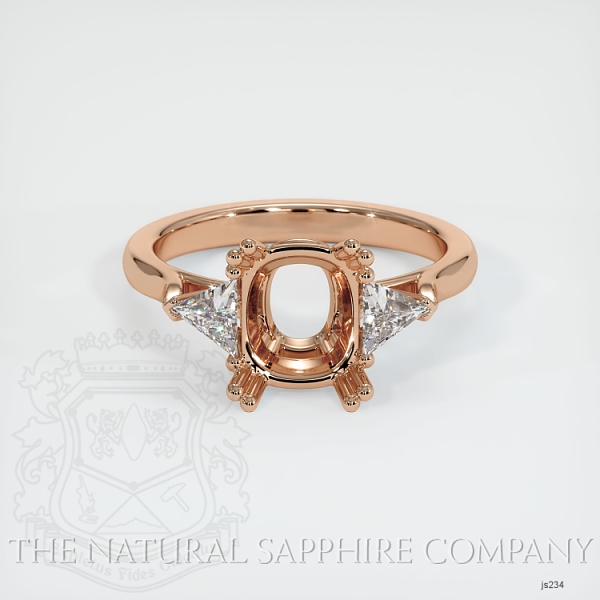 Double Prong 3 Stone Ring Setting - Trillion Diamonds JS234 Image 2