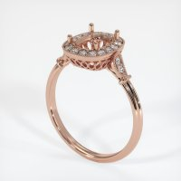 14K Rose Gold Pave Diamond Ring Setting - JS269R14