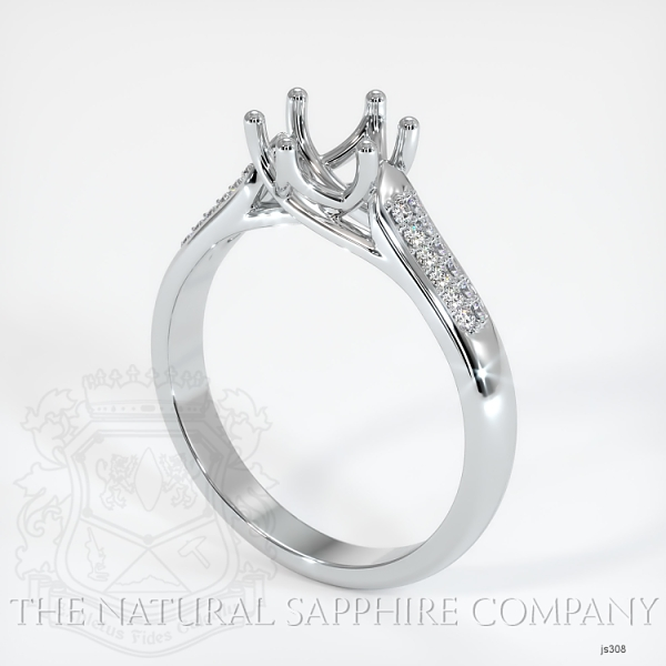 6 Prong Trellis Solitaire Setting - Pave Band JS308 Image