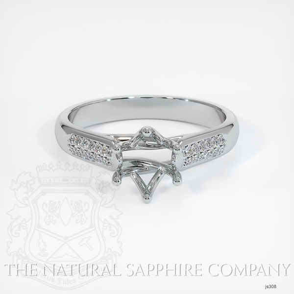 6 Prong Trellis Solitaire Setting - Pave Band JS308 Image 2