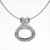 18K White Gold Pave Diamond Pendant Setting - JS331W18