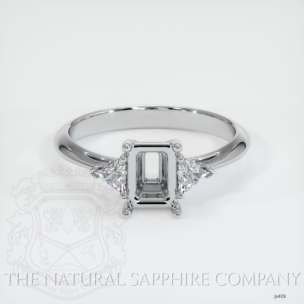 Three Stone Ring Setting - Trillion Diamonds JS409 Image 2