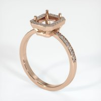 18K Rose Gold Pave Diamond Ring Setting - JS42R18