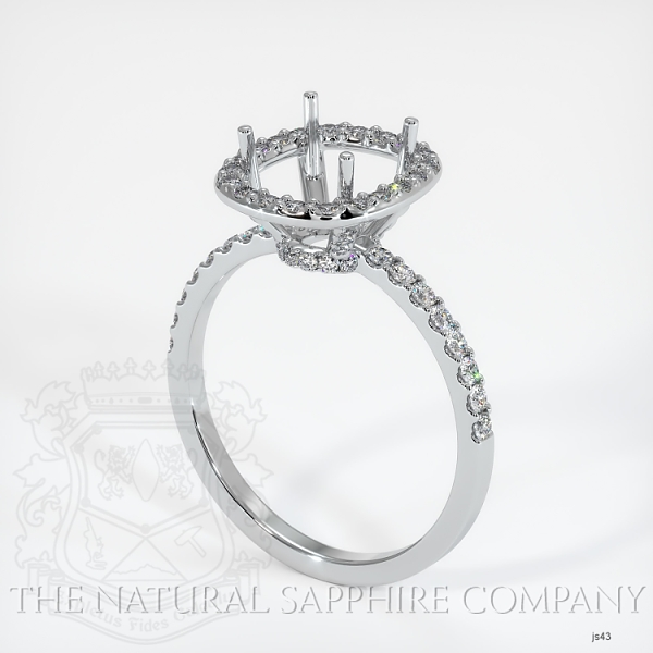 Scoop Cut Pave Diamond Halo Setting - Cushion Cut JS43 Image