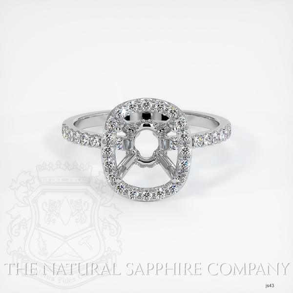 Scoop Cut Pave Diamond Halo Setting - Cushion Cut JS43 Image 2