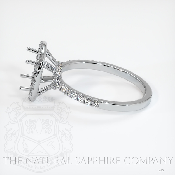 Scoop Cut Pave Diamond Halo Setting - Cushion Cut JS43 Image 3