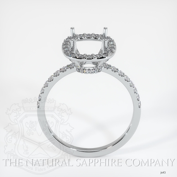 Scoop Cut Pave Diamond Halo Setting - Cushion Cut JS43 Image 4