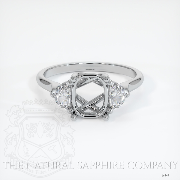 Trellis Three-Stone Ring Setting - Half Moon Diamonds JS447 Image 2