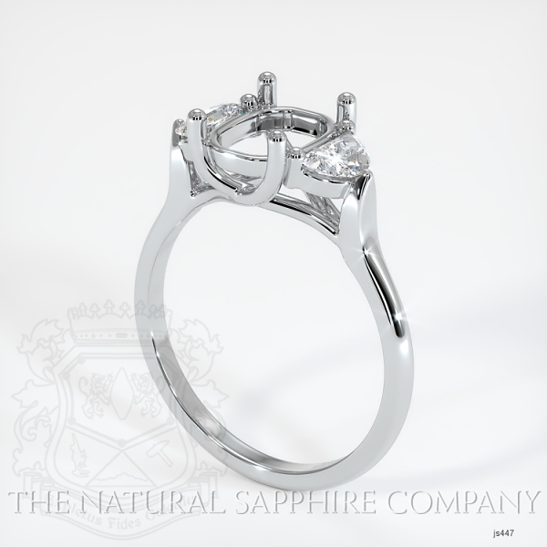Trellis Three-Stone Ring Setting - Half Moon Diamonds JS447 Image