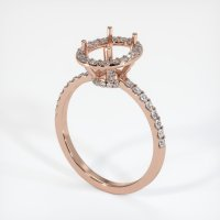 14K Rose Gold Pave Diamond Ring Setting - JS45R14