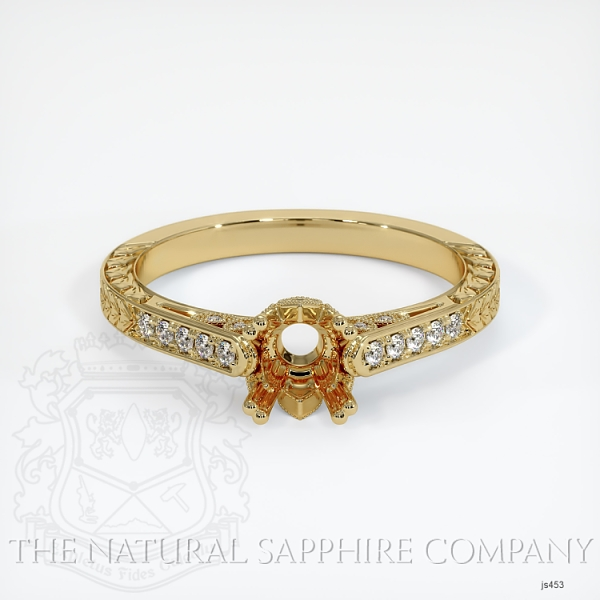 Antique Style 4 Prongs Pave Ring Setting JS453 Image 2